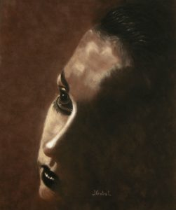 "© Laura Gabel, ""Into the Light"". Soft Pastel on Velour 15.5 x 18.5. Private collection."