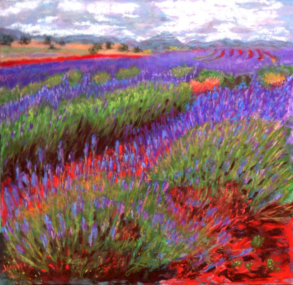 """© Laura Gabel, """"Lovelock's Lavender"""". Pastel on UArt, framed with a black mat and frame, 15 1/4 x 15 1/4. Private collection."""