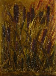 "© Laura Gabel, ""Cattails 1"". Acrylic on canvas, 13.5 x 16. 5. $125.00"
