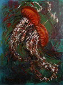 "© Laura Gabel, ""Jellyfish Dance"". Acrylic on canvas, 13.5 x 16.5. $125."