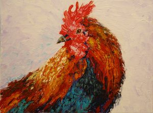 "© Laura Gabel, ""Rooster 1"". Acrylic on canvas, 8 x 10. $75."