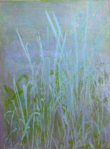"© Laura Gabel, ""Heaven's Cattails #1"". Acrylic on canvas, 18 x 24. Private collection."
