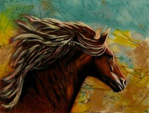 "© Laura Gabel, ""Horse in Heaven"". Acrylic and watercolor, 9 x 12. Private collection."
