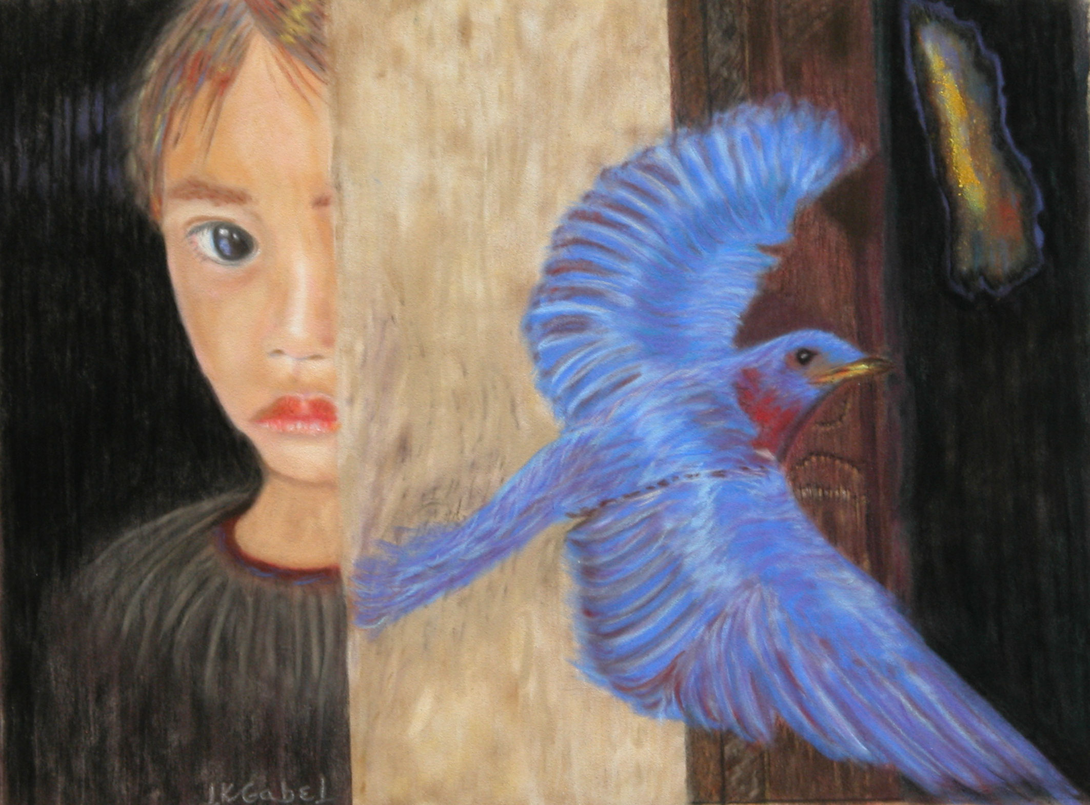"© Laura Gabel, ""I'll Fly Away"". Pastel on art."