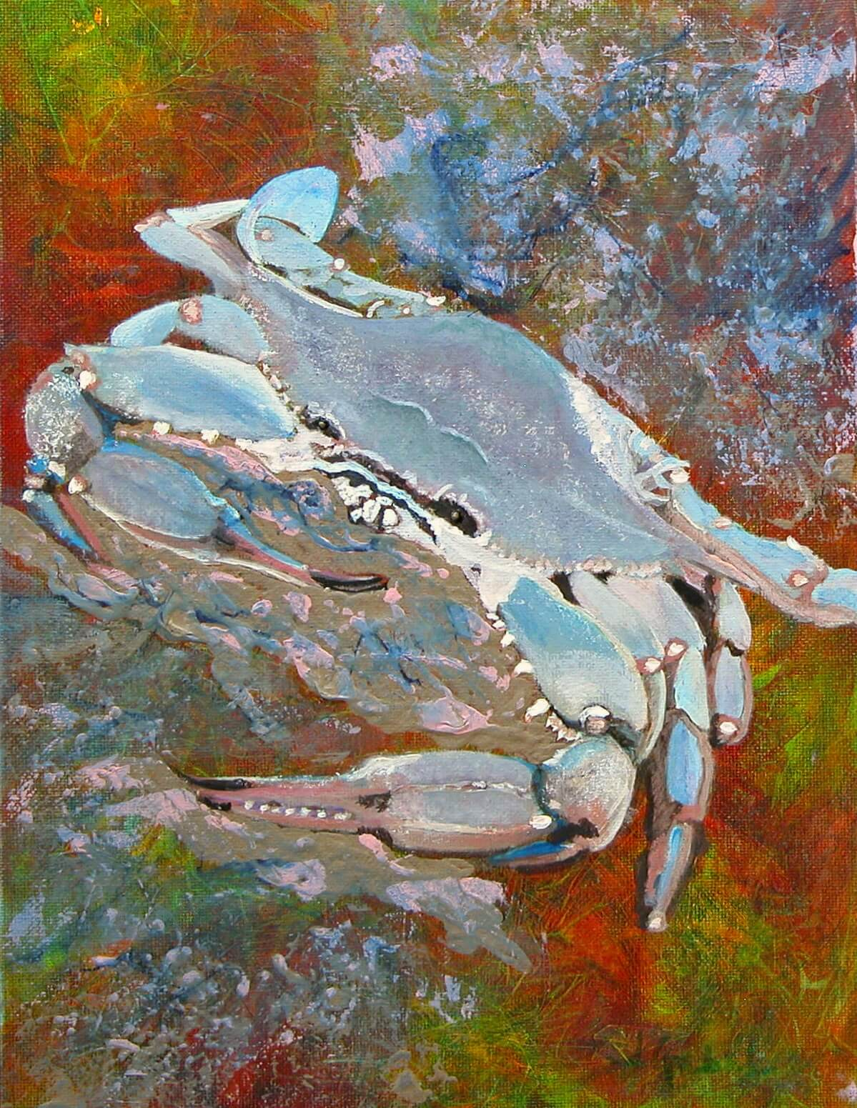 "© Laura Gabel, ""Austin Blue Crab"". Acrylic on canvas, 13.5 x 16.5. Private collection."