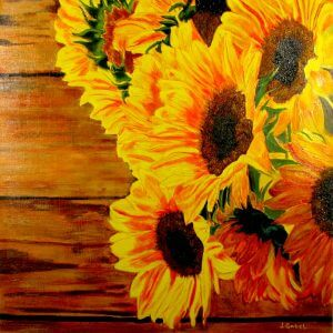 """© Laura Gabel, """"Sunflower 1"""". Acrylic. Private collection."""