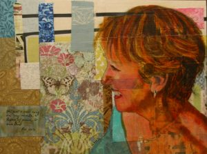 """© Laura Gabel, """"Barb"""". 16 x 12, acrylic and mixed media. Private collection."""