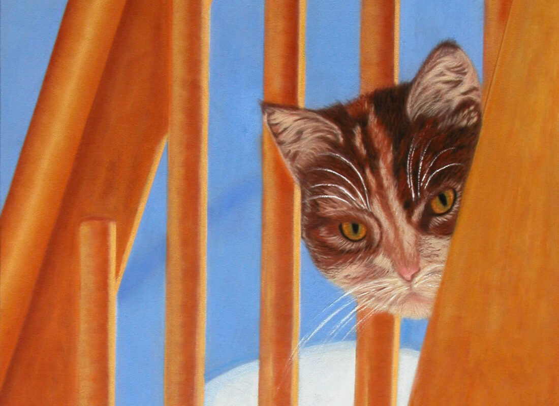 "© Laura Gabel, ""I See You Too"". Pastel on suede matteboard. Private collection."