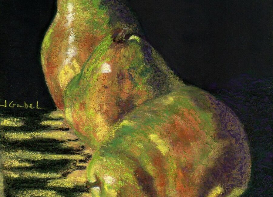 """© Laura Gabel, """"Me First Pears"""". Pastel on UArt, framed in black with a green suede mat, 13 1/2 x 13 1/2. $395.00."""