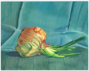 "© Laura Gabel. ""Turquoise Onion"". Soft Pastel on Pastelbord, white frame, 11 x 14. $400.00"