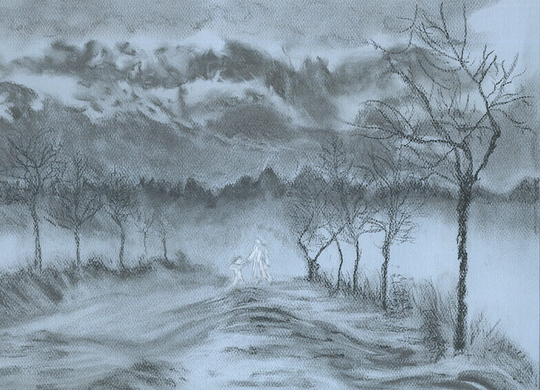 """© Laura Gabel, """"Winter with My Lover"""". Charcoal, 10 x 12. Private collection."""
