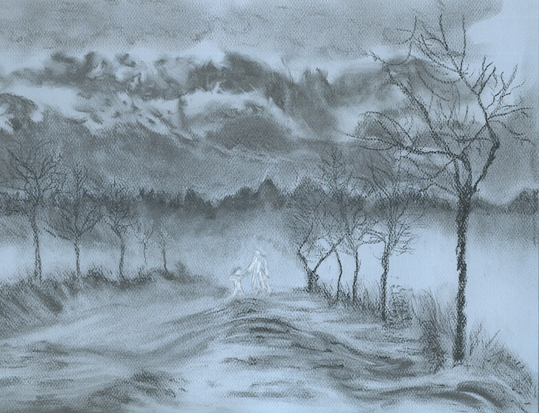 "© Laura Gabel, ""Winter with My Lover"". Charcoal, 10 x 12. Private collection."
