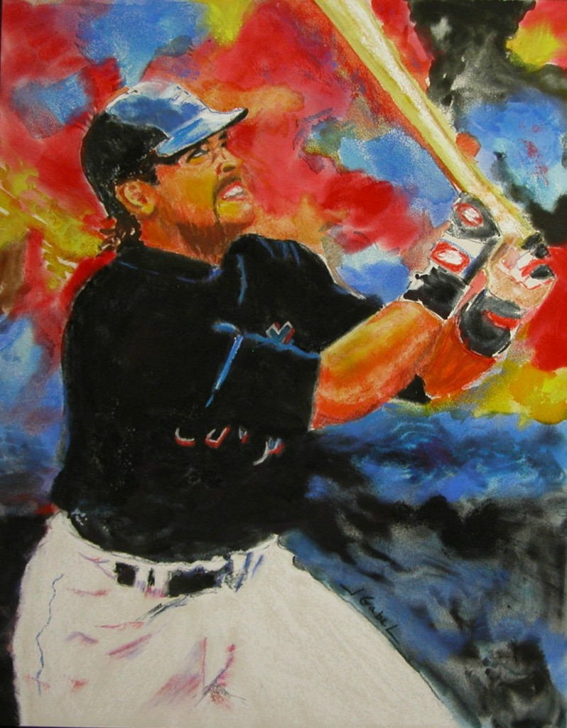 "© Laura Gabel. ""The Slugger"" , Pastel and Watercolor, 11 x 14. Private Collection."
