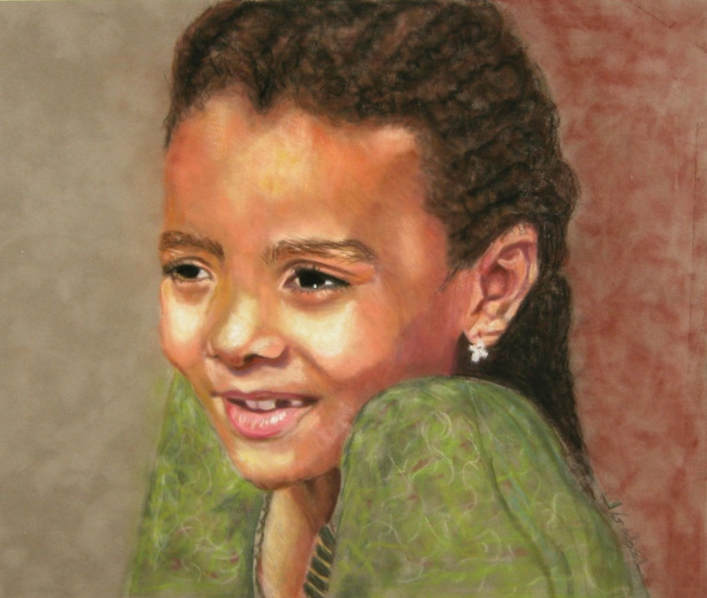 "© Laura Gabel, ""Little Evie"". Pastel, 17 x 15. Private Collection."