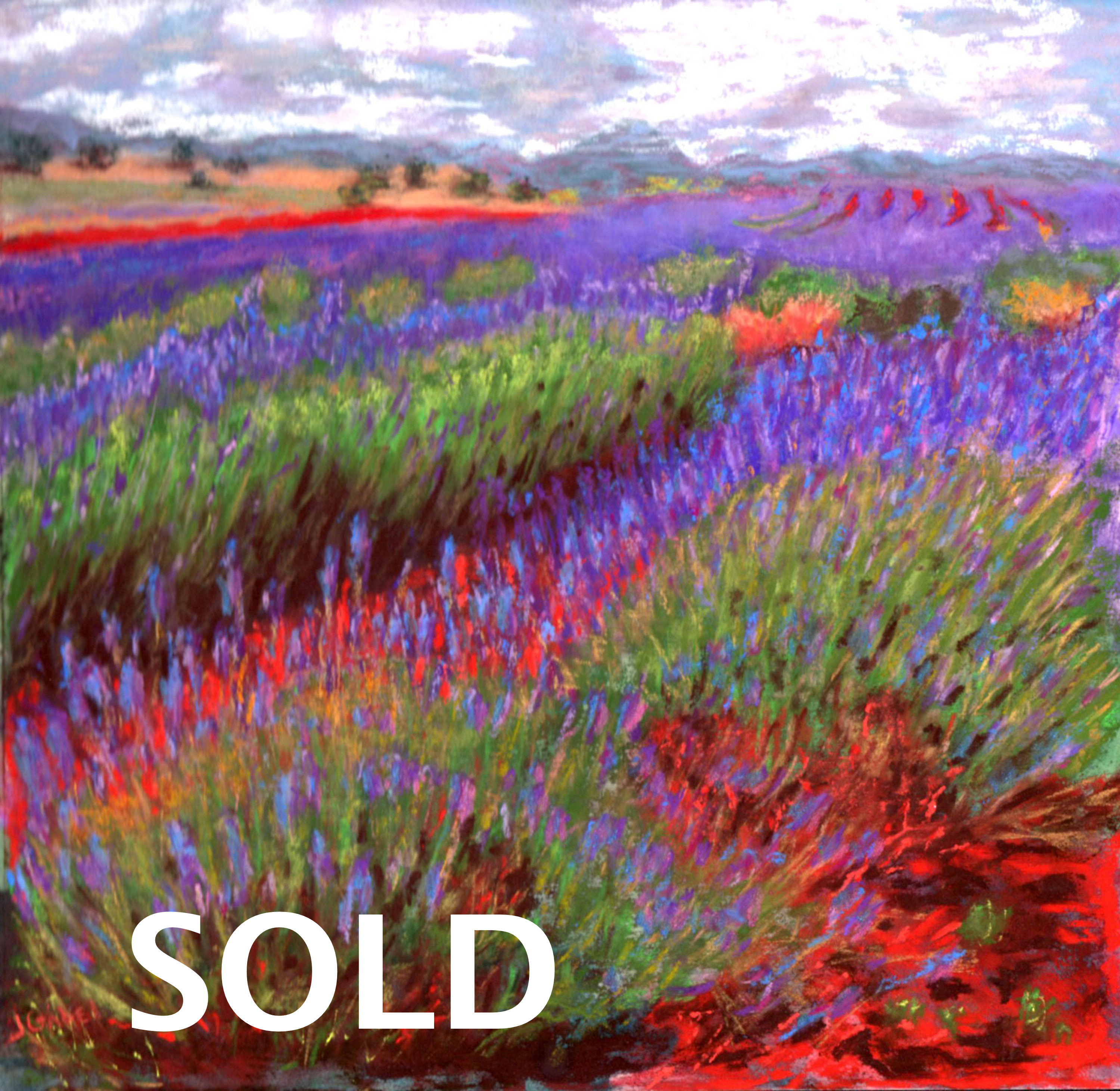 "© Laura Gabel, ""Lovelock's Lavender"". Pastel on UArt, framed with a black mat and frame, 15 1/4 x 15 1/4. Private collection."