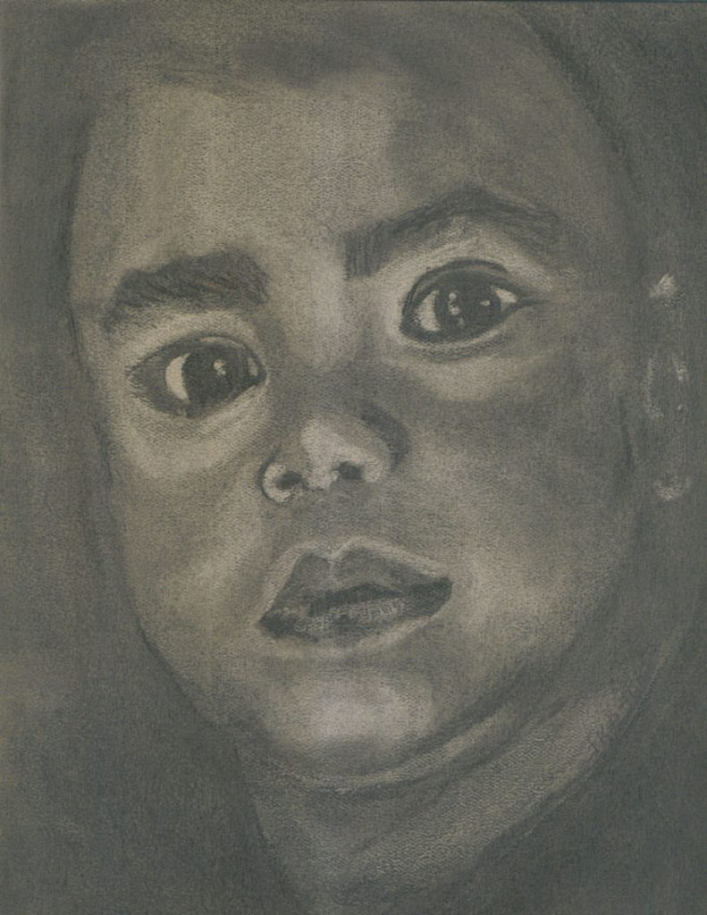 "© Laura Gabel, ""CharBoy"". Charcoal, 8 x 10. Private collection."