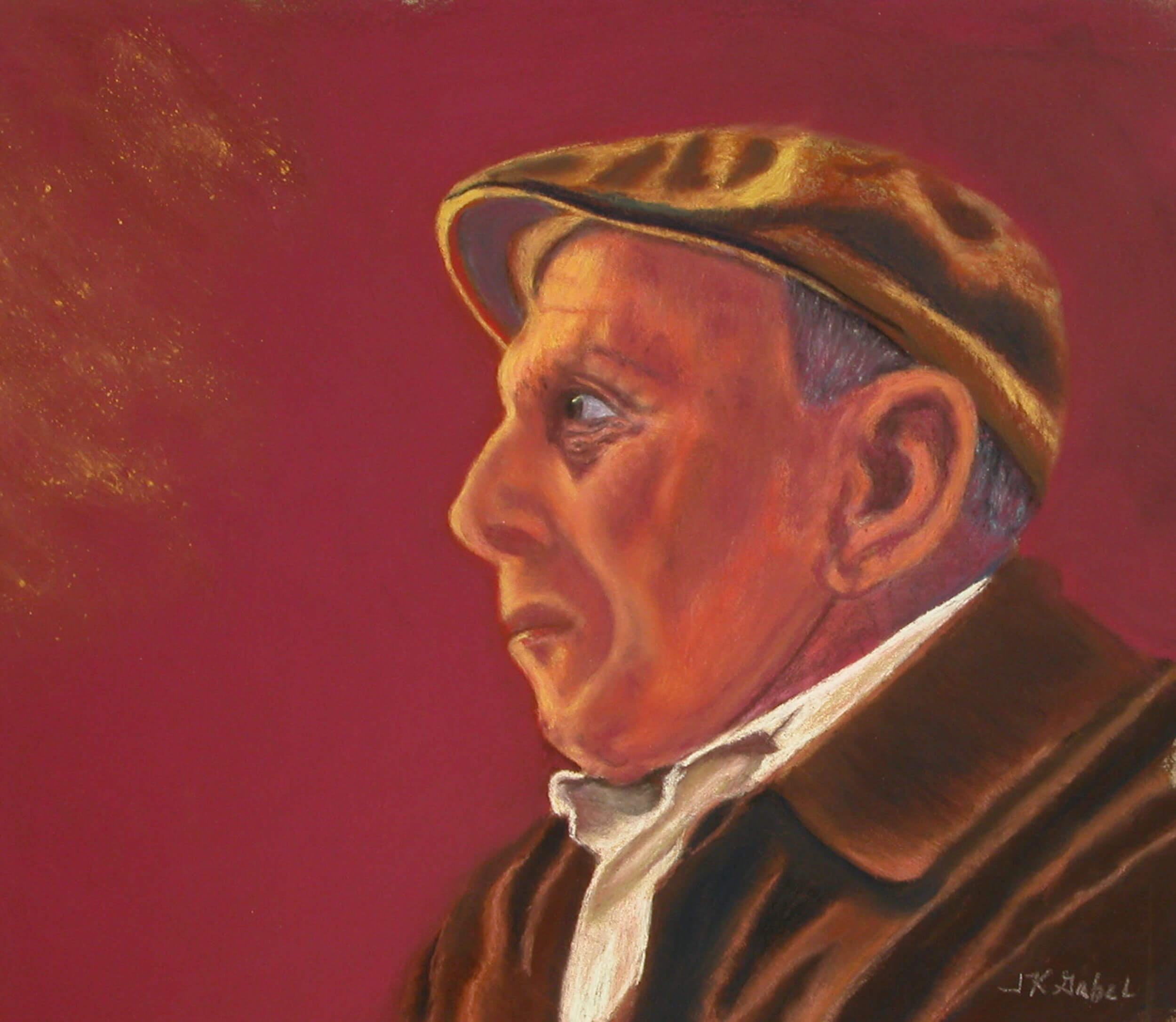 "© Laura Gabel, ""Mr. Faith"". Pastel on UArt, 21 x 17. $695."