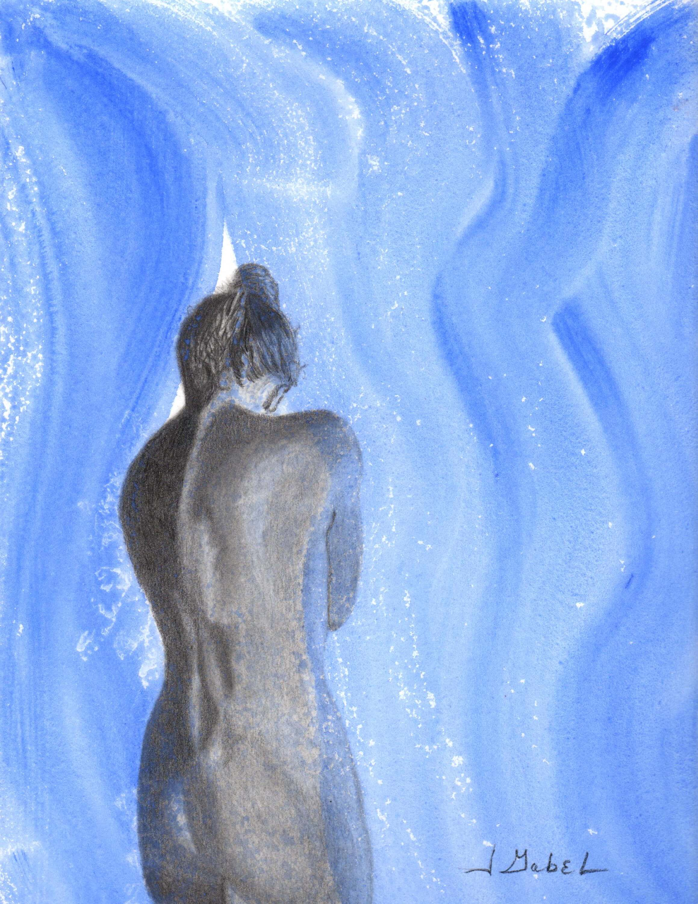 "© Laura Gabel, ""He Parts the Veil"", watercolor and charcoal, 14 x 17.5, $195.00"
