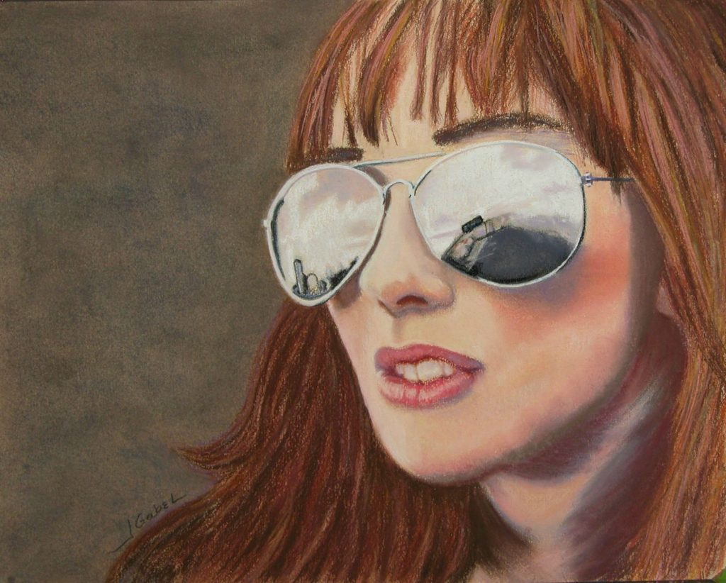 """© Laura Gabel, """"Looking Ahead"""". Pastel on UArt, framed with mauve mat and double framed bronze interior and silver exterior, 19 x 15 3/4. $650."""