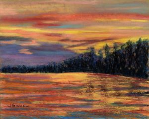 """© Laura Gabel, """"Rainbow Evening"""". Pastel on UArt, 10 x 12. Private collection."""
