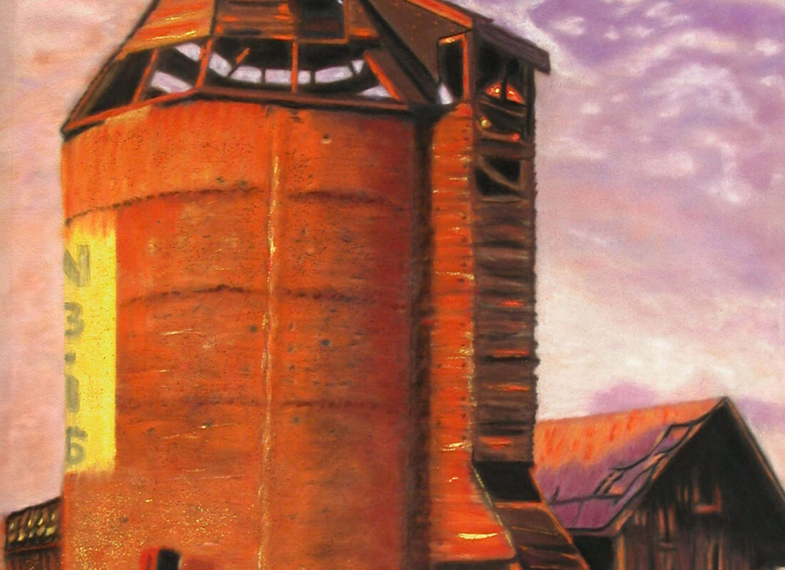 """© Laura Gabel, """"Sunset Silo"""". Pastel on UArt. Private collection."""