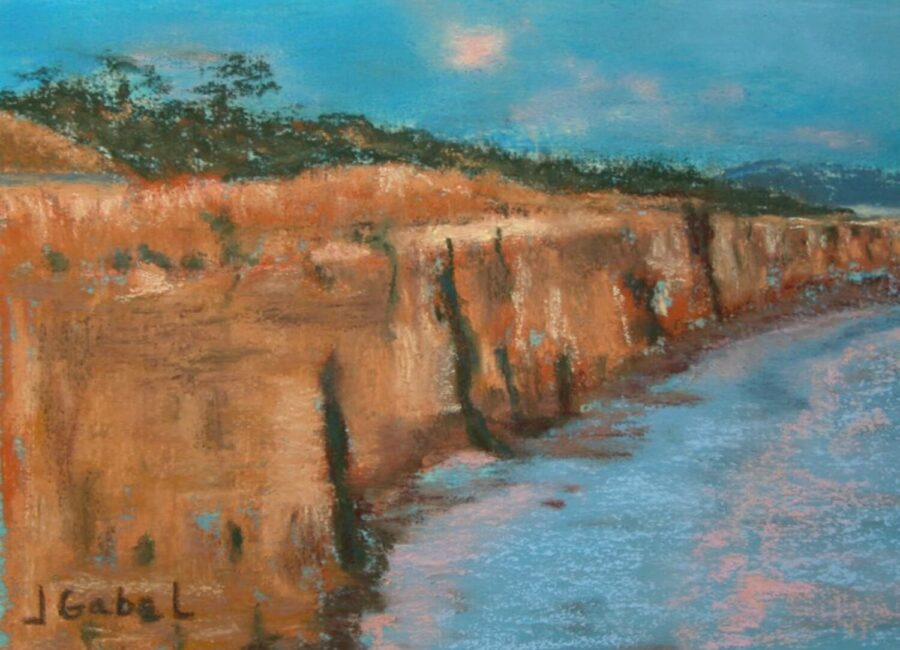 "© Laura Gabel, ""Cliffs"". Pastel. Private collection."