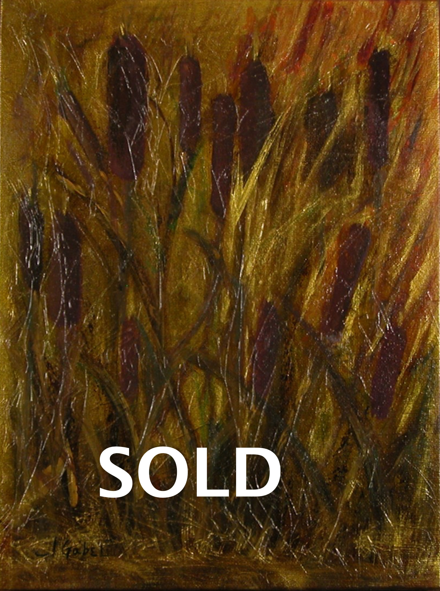 """© Laura Gabel, """"Cattails 1"""". Acrylic on canvas, 13.5 x 16.5. Private collection"""