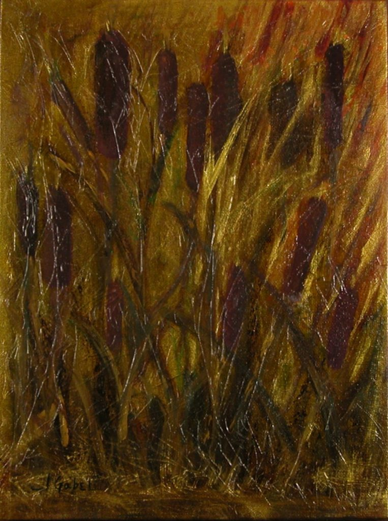 "© Laura Gabel, ""Cattails 1"". Acrylic on canvas, 13.5 x 16. 5. Private collection."