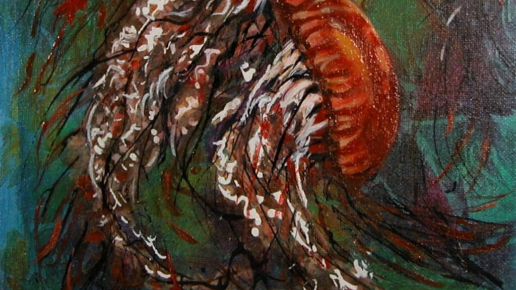 """© Laura Gabel, """"Jellyfish Dance"""". Acrylic on canvas, 13.5 x 16.5. Private collection."""