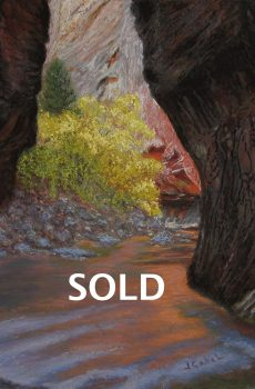 "© Laura Gabel, ""Apricot Canyon 1"". Textured pastel, 16 x 20. Private collection."