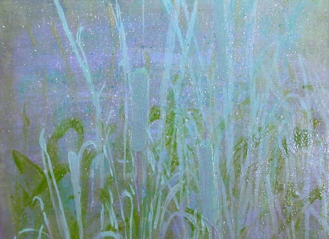 """© Laura Gabel, """"Heaven's Cattails #1"""". Acrylic on canvas, 18 x 24. Private collection."""