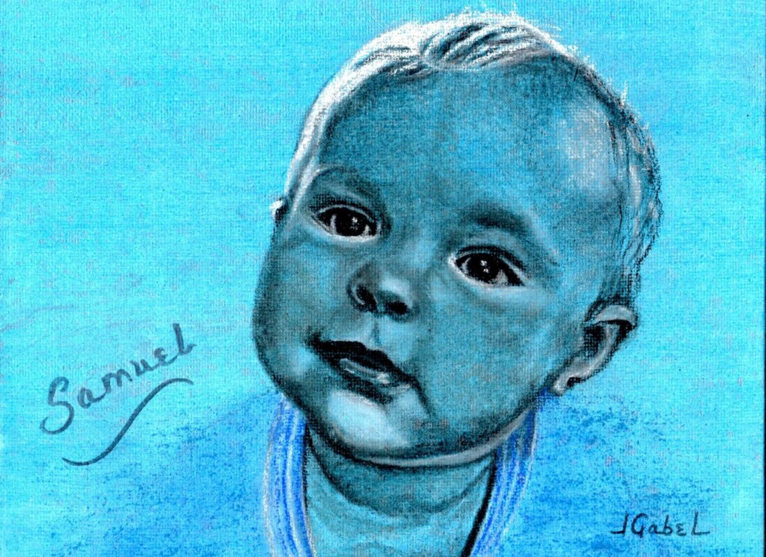 "© Laura Gabel, ""Samuel Blue Boy"". Charcoal, 10.5 x 12.5. $150."