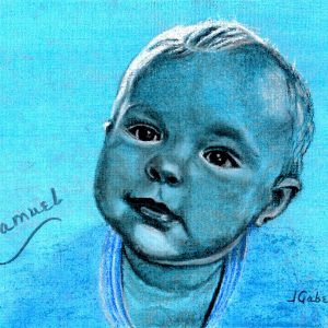 "© Laura Gabel, ""Samuel Blue Boy"". Charcoal, 10.5 x 12.5. $150."