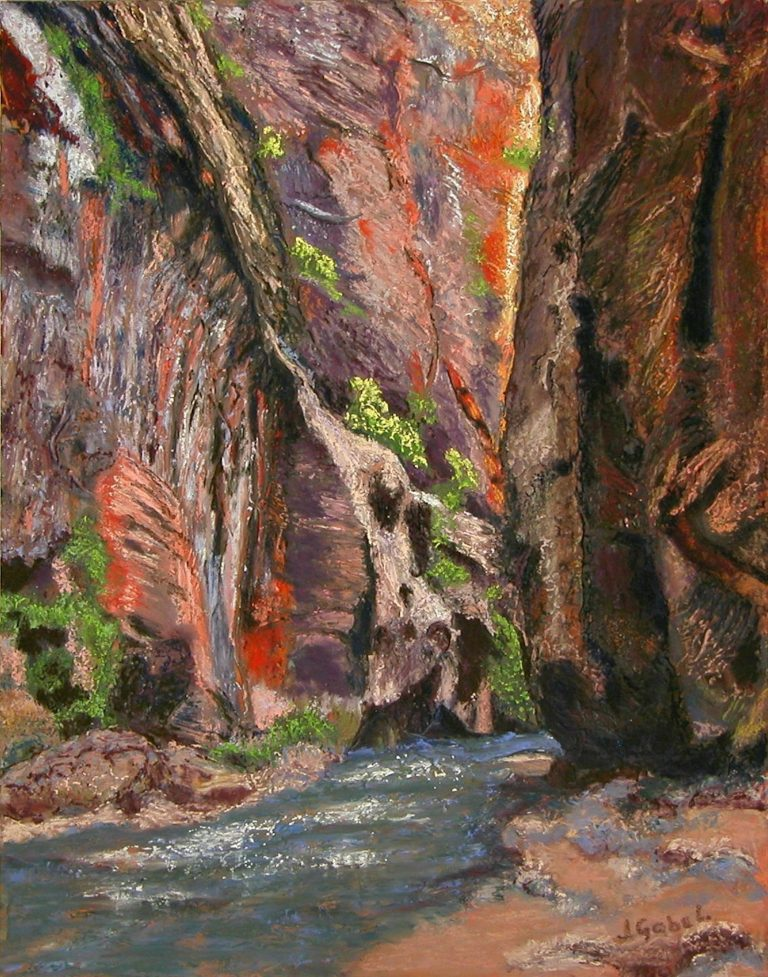 "© Laura Gabel, ""Apricot Canyon 2"". Soft pastel, 16 x 20. $650."