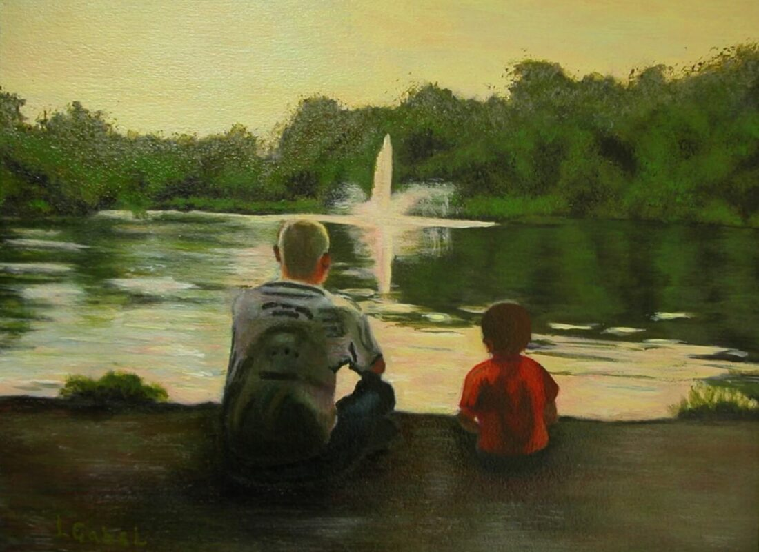 "© Laura Gabel, ""Billy & Grandson"". Acrylic and canvas, 16.5 x 13.5. Private collection."