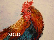 """© Laura Gabel, """"Rooster 1"""". Acrylic on canvas, 8 x 10. Private collection."""