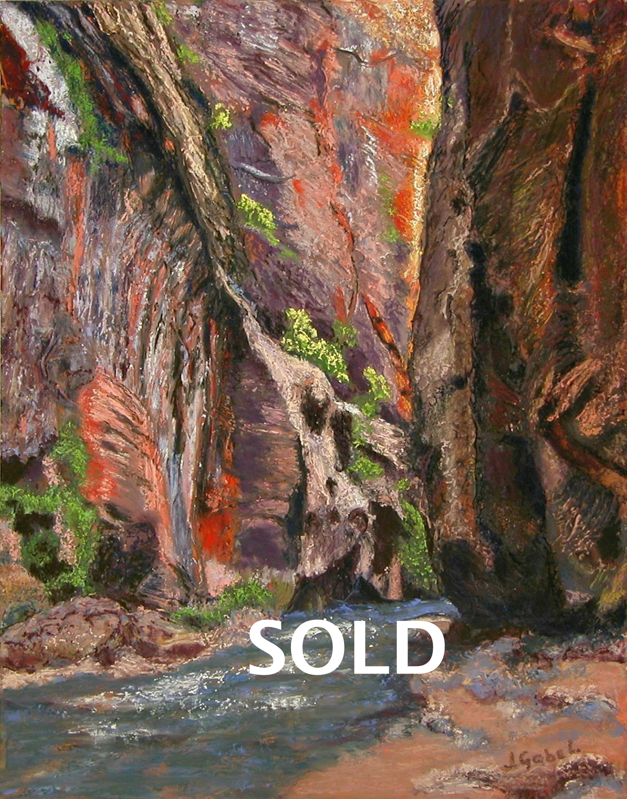 """© Laura Gabel, """"Apricot Canyon 2"""". Soft pastel, 16 x 20. Private collection."""