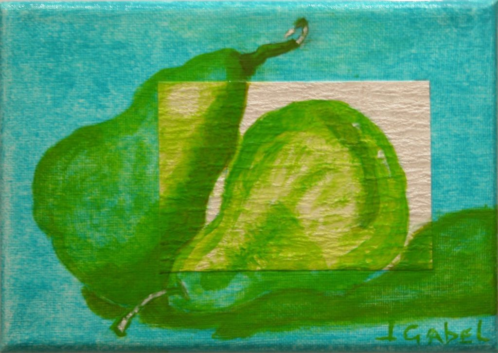 "© Laura Gabel, ""Pear Gem 2"". Acrylic and canvas, 5 x 7 Private collection."