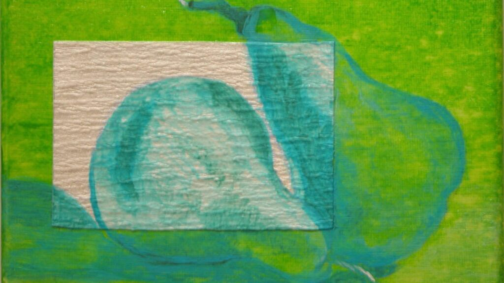 """© Laura Gabel, """"Pear Gem 1"""". Acrylic and canvas, 5 x 7 Private collection."""