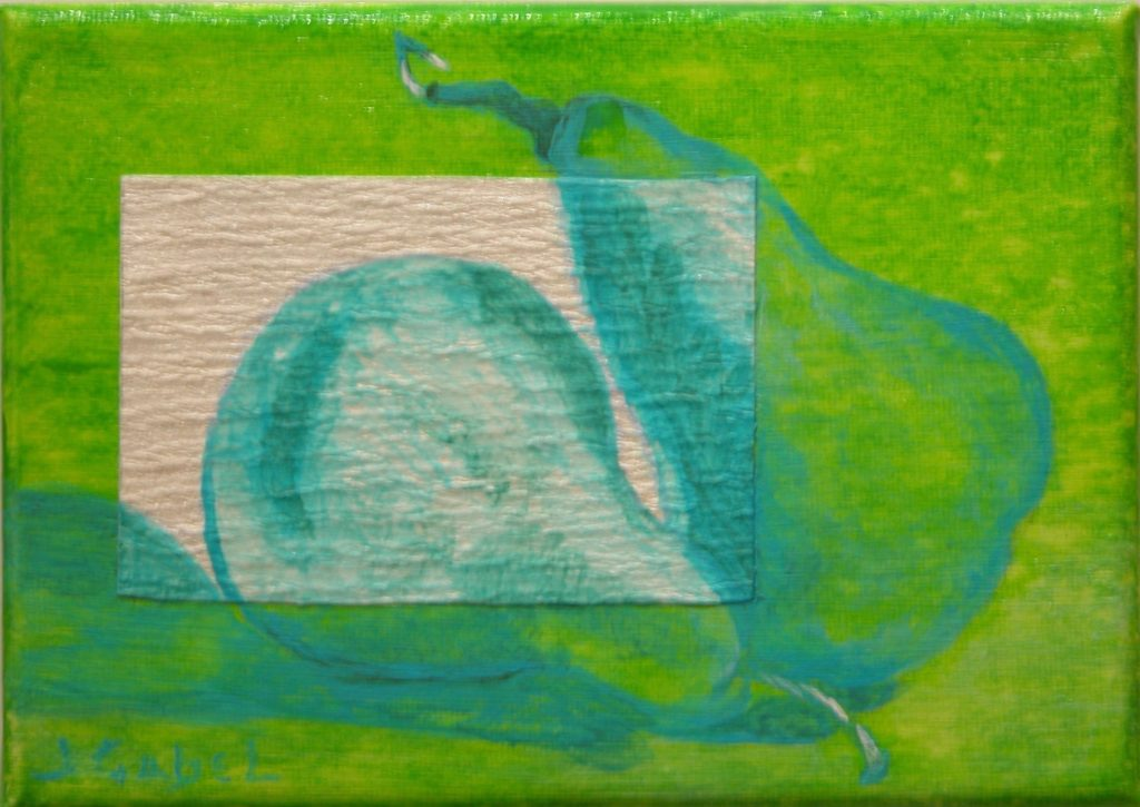 "© Laura Gabel, ""Pear Gem 1"". Acrylic and canvas, 5 x 7 Private collection."