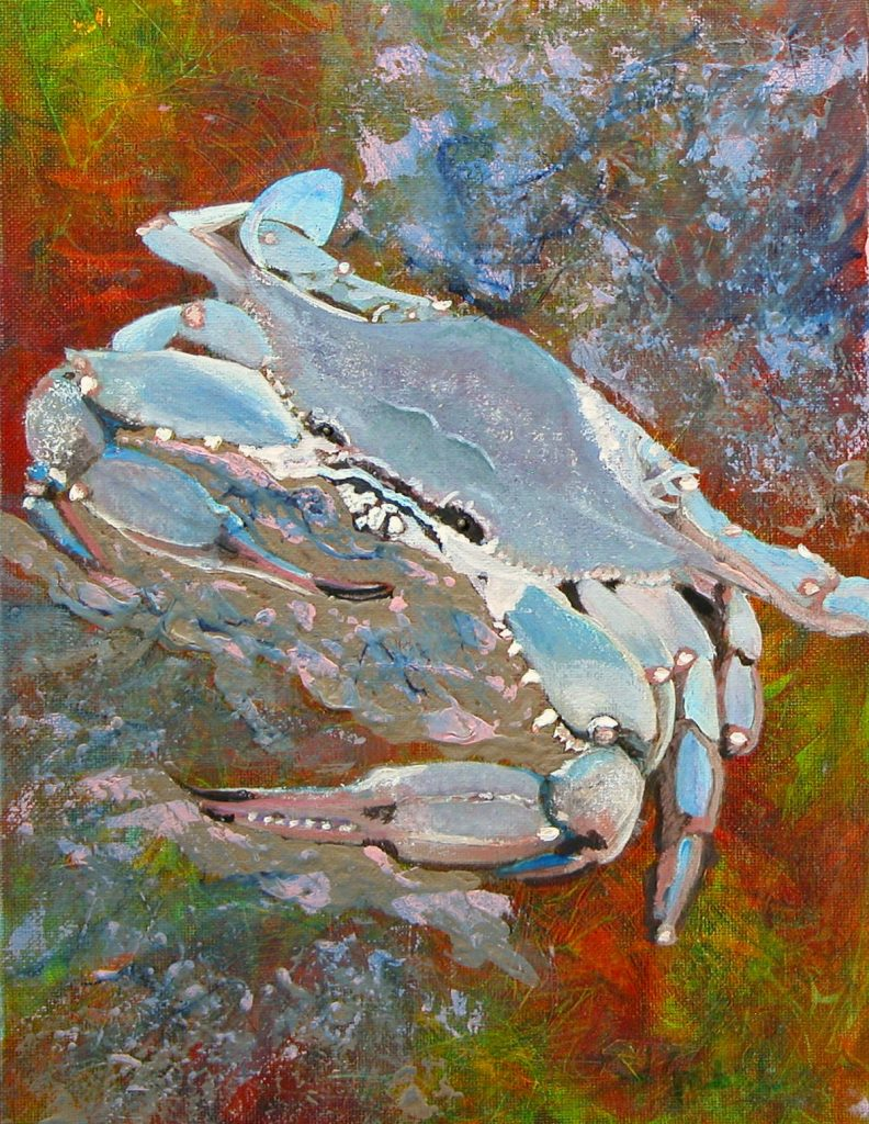 "© Laura Gabel, ""Austin Blue Crab"". Acrylic, 13.5 x 16.5. Private collection."
