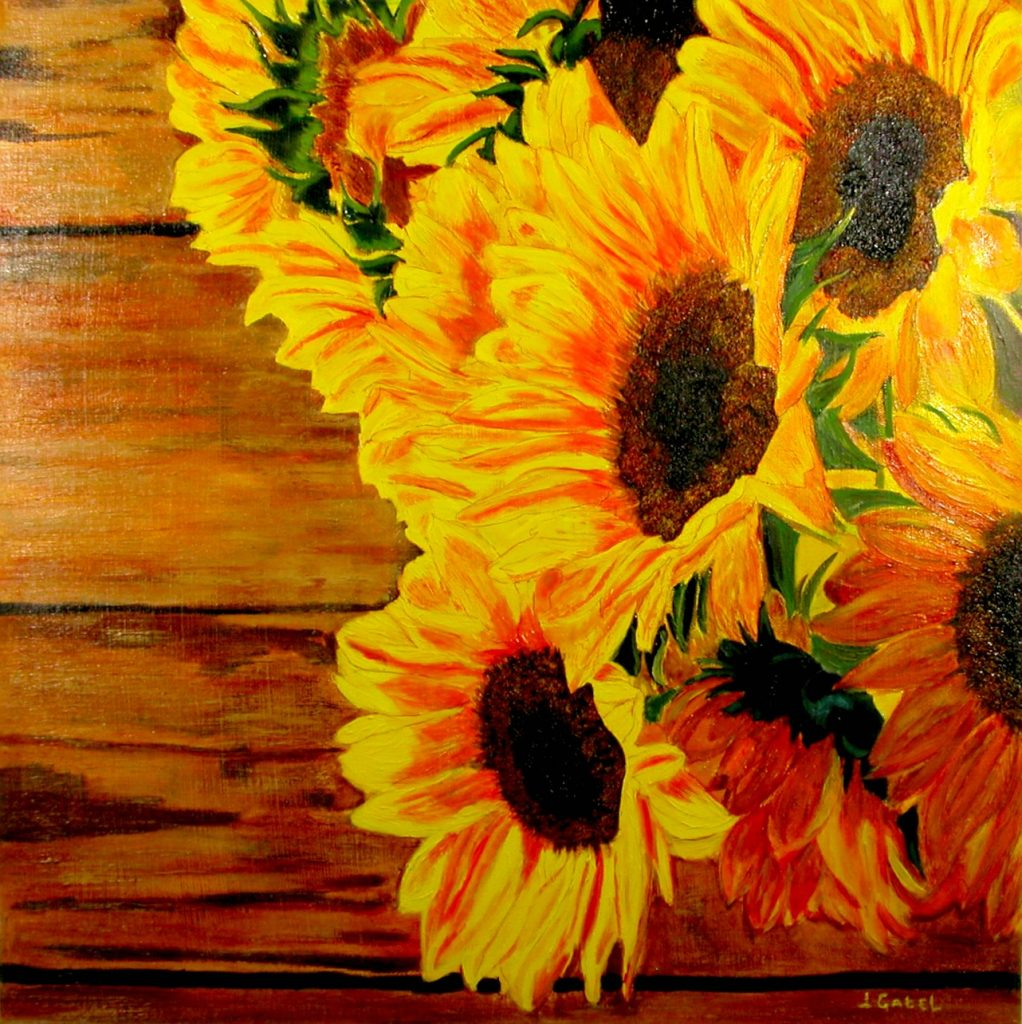 "© Laura Gabel, ""Sunflower 1"". Acrylic, 24x24. Private collection."