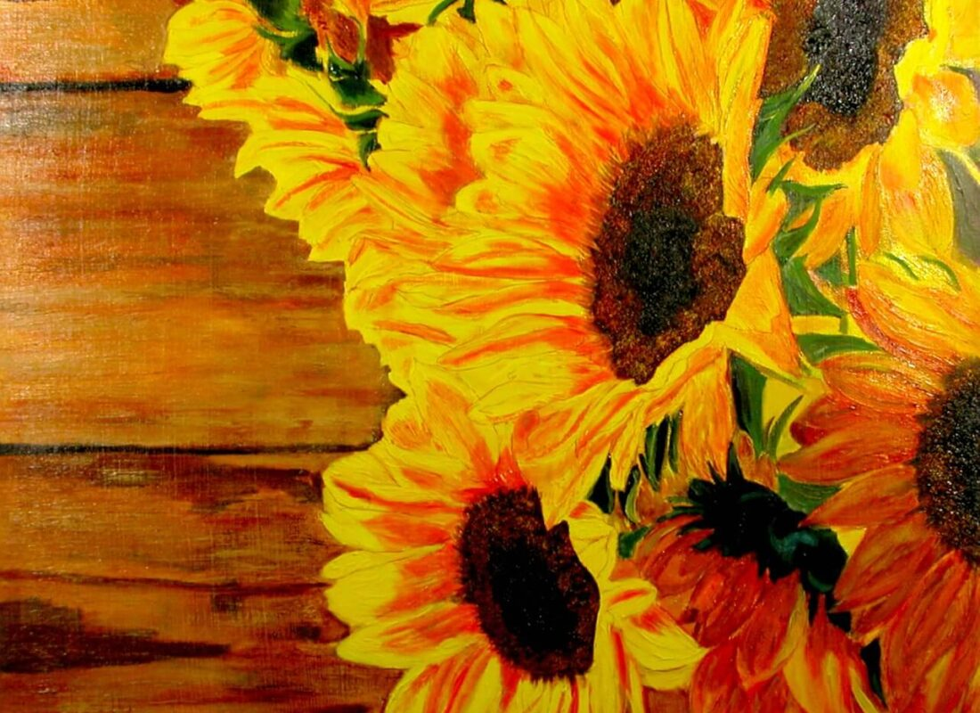 """© Laura Gabel, """"Sunflower 1"""". Acrylic, 24x24. Private collection."""