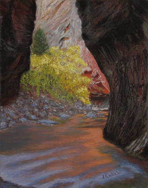 "© Laura Gabel, ""Apricot Canyon 1"". Textured pastel, 16 x 20. Private collection. challenge blog"