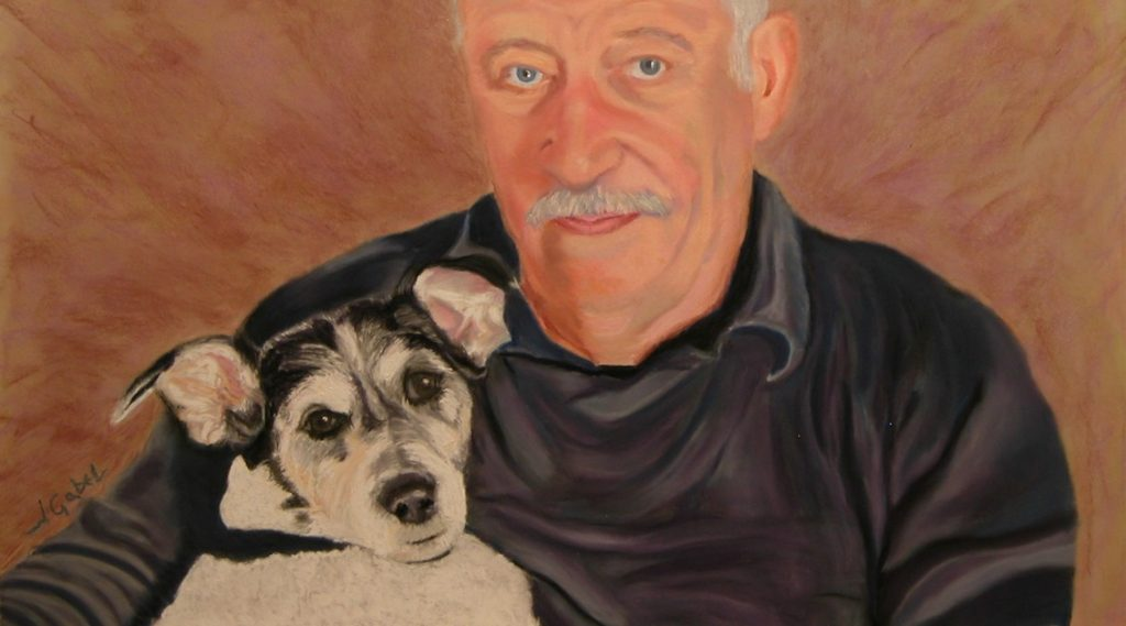 """© Laura Gabel, """"Ian and Sally (Boo)"""". Soft Pastel, 17 1/2 x 10 3/4. Private Collection."""