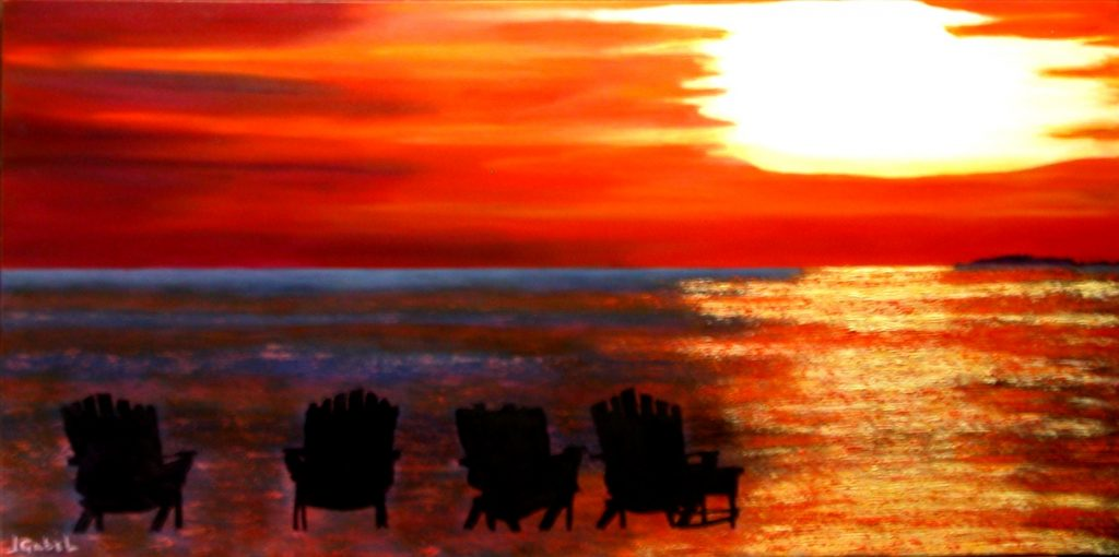"habitat myth 3 © Laura Gabel, ""Hernando Beach"". Oil, 24 x 48. Private collection."