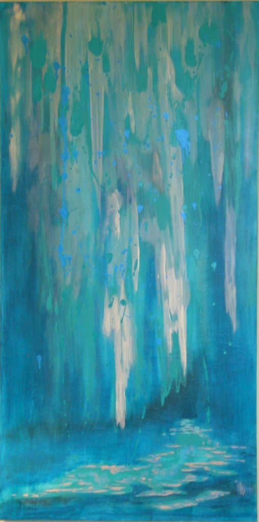 "© Laura Gabel, ""Sarasota Waterfall"". Acrylic, 24x48. Private collection."