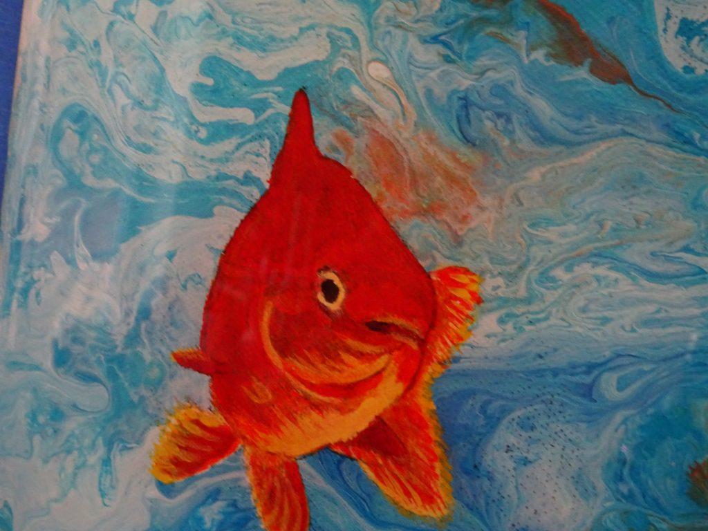 "© Laura Gabel, ""Fishing Around"". 12x12, mixed media. $250., lure blog"