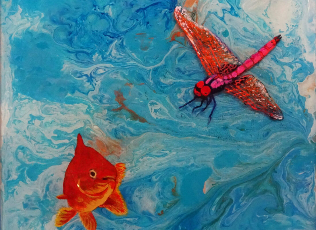 """© Laura Gabel, """"Fishing Around"""". Mixed Media, 12x12. Private collection."""