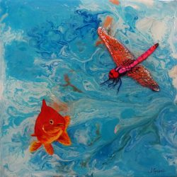 "© Laura Gabel, ""Fishing Around"". 12x12, mixed media. $250."